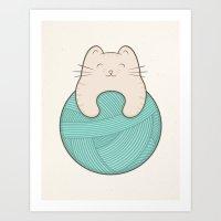 knit Art Prints featuring knit cat by kim vervuurt
