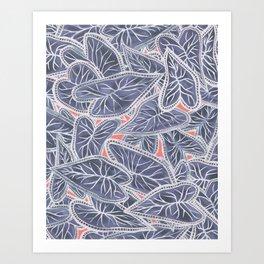 Tropical Caladium Leaves Pattern - Purple Gray Coral Art Print
