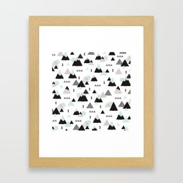 Geometric Fuji mountain japan travel pattern Framed Art Print