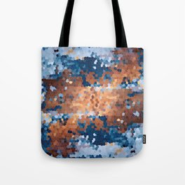 Copper and Denim Abstract Tote Bag