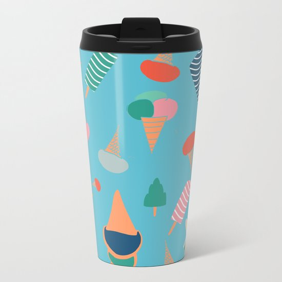 Ice Cream Blue Metal Travel Mug