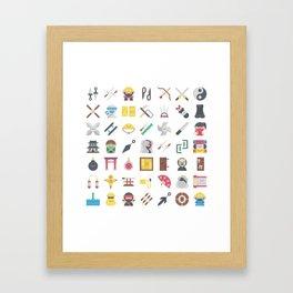 CUTE NINJA PATTERN Framed Art Print