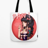 rockabilly Tote Bags featuring Rockabilly Girl ! by Christine Alcouffe