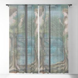 Garden of Eden, Paradise, Philemon and Baucis female and male nude portrait painting mural by Yara Park Sheer Curtain