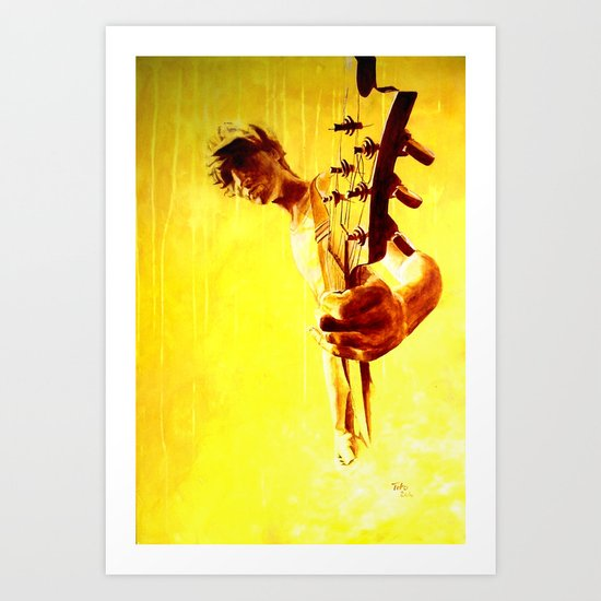 my son is a guitar god Art Print
