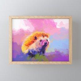 Sweet Hedgehog, cute pink and purple animal painting Framed Mini Art Print