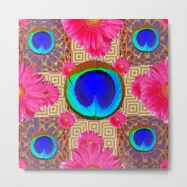 Cobalt blue & fuchsia pink Gerber flower Patterns Art Metal Print