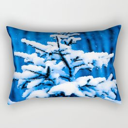 Snow covered Christmas tree Rectangular Pillow
