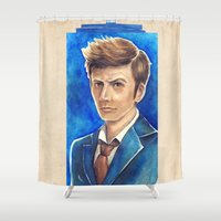 david tennant Shower Curtains featuring David Tennant 10th Doctor Who by Tiffany Willis