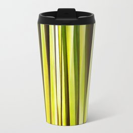 Yellow Ochre and Brown Stripy Lines Pattern Travel Mug