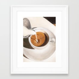 Morning Coffee Watercolor Painting Framed Art Print
