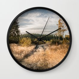 Autumn landscape with a path between tall trees and a moody cloudy sky Wall Clock
