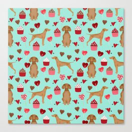Vizsla valentines day dog breed gifts for dog lover unique dog pet portraits animal art Canvas Print