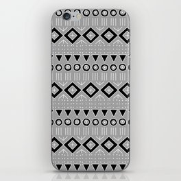 Bohemian Mudcloth Style 2 in Gray and Black iPhone Skin
