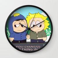 yaoi Wall Clocks featuring Craig X Tweek by FrankenPup