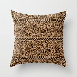 Golden Renaissance Damask Throw Pillow