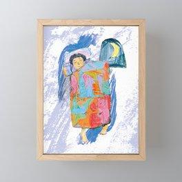 Sleeping and dreaming illustration, design for children Framed Mini Art Print