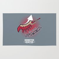 monster hunter Area & Throw Rugs featuring Monster Hunter All Stars - The Kotoko Upswings  by Bleached ink