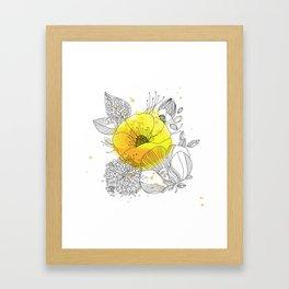 Yellow Floral Burst Framed Art Print
