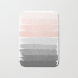 Color story millennial pink and grey transition brushstrokes modern canvas art decor dorm college Bath Mat