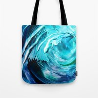 surfing Tote Bags featuring Surfing by ART de Luna