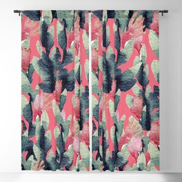 Coral pink navy blue mint green watercolor floral Blackout Curtain