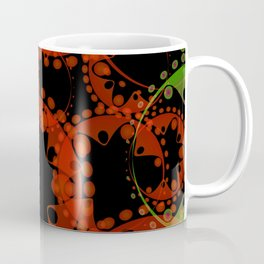 Abstract pastel pattern of orange and green soap bubbles and gears in bright design on a black backg Coffee Mug