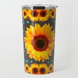 Blue Butterflies Golden Sunflowers Teal Art Travel Mug