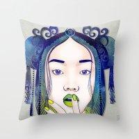 luna Throw Pillows featuring Luna by Stevyn Llewellyn