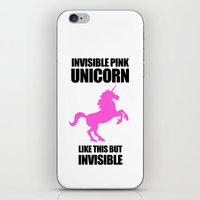 atheist iPhone & iPod Skins featuring Invisible Pink Unicorn by Jez Kemp