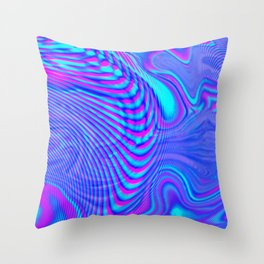 GLITCH MOTION WATERCOLOR OIL Throw Pillow