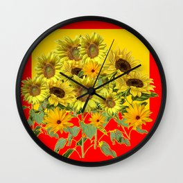GOLDEN-RED SUNNY YELLOW SUNFLOWERS Wall Clock