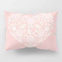 Millennial Pink Blush Rose Quartz Hearts Lace Flowers Pattern Pillow Sham