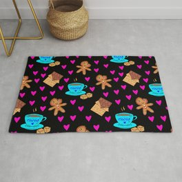 Lovely sweet gingerbread men cookies, chocolate, cups of hot cocoa, cute hearts hygge winter pattern Rug