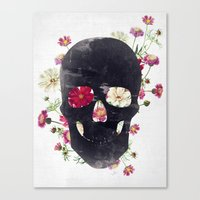 Canvas Prints featuring Skull Grunge Flower by Francisco Valle