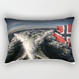 Speedboat running fast with norwegian flag Rectangular Pillow