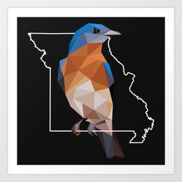 Missouri - Eastern Bluebird (Black) Art Print