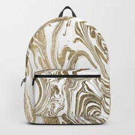 Stylish white faux gold foil elegant marble Backpack