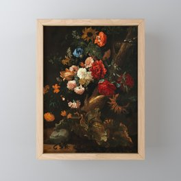 """Ernst Stuven """"Floral still life with Yellow-Bellied Toad and snake"""" Framed Mini Art Print"""
