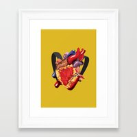 backpack Framed Art Prints featuring Backpack Heart by Rifo