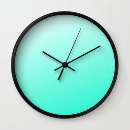 Aquamarine Blue To White Ombre Modern Color Design Wall Clock