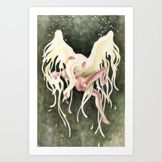 From Swan to Swoon (Leda & Zeus) Art Print