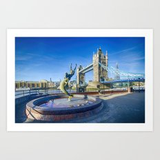 Girl with a Dolphin at Tower Bridge Art Print