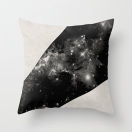 Expanding Universe - Abstract, black and white space themed design Throw Pillow