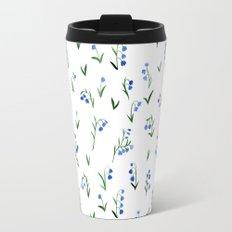 blue lily subtle pattern Travel Mug