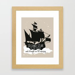 Second star to the right and straight on till morning - Peter Pan Inspired Art Print  Framed Art Print