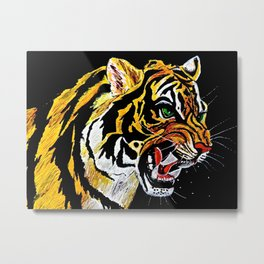 Tiger Stalking Prey Oil Painting Metal Print