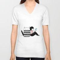 best friends V-neck T-shirts featuring Best Friends by Regina Rivas Bigordá