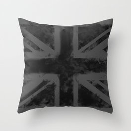 Black UK Flag Throw Pillow