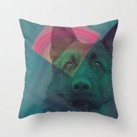 german shepherd Throw Pillows featuring German Shepherd by MOSAICOArteDigital